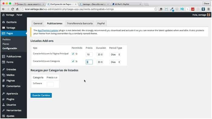 Configurar los pagos de Paypal en la plantilla Vantage de Appthemes