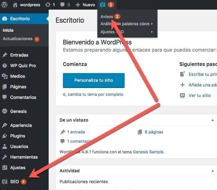 avisos Yoast WordPress SEO
