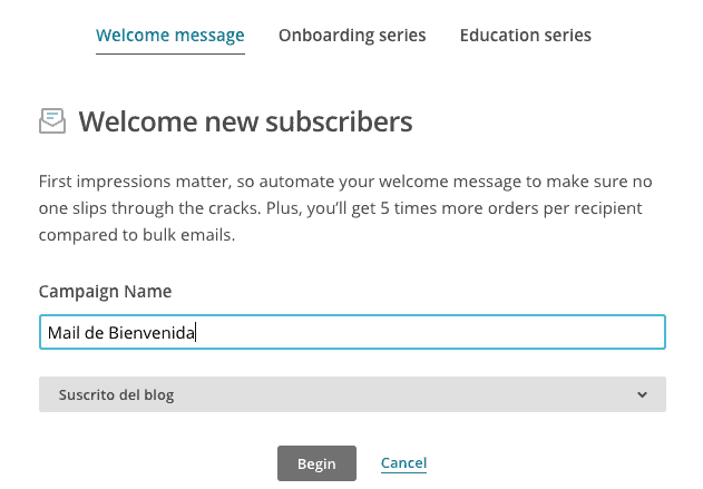 mail bienvenida autorespondedor