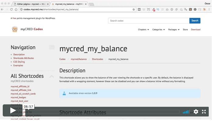 shortcode my balance mycred