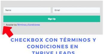 Añadir Checkbox con Términos y Condiciones en un Thrive Leads