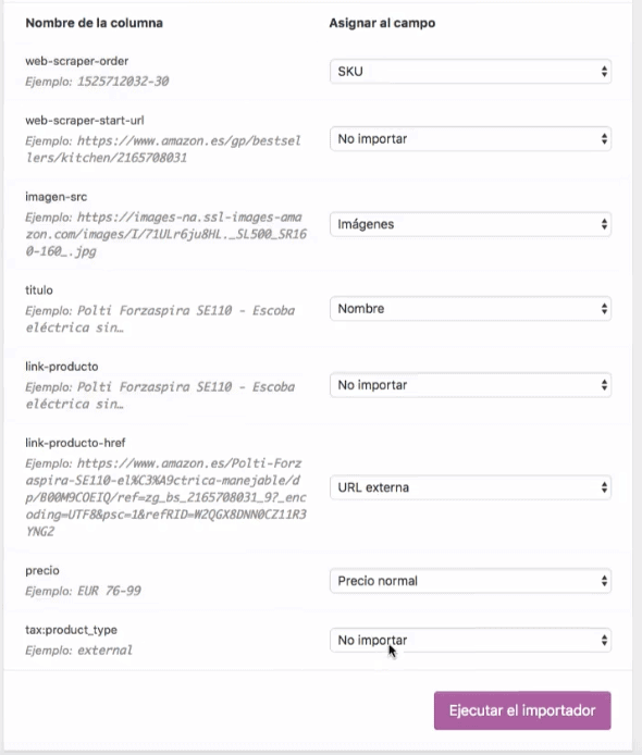 mapear productos woocommerce