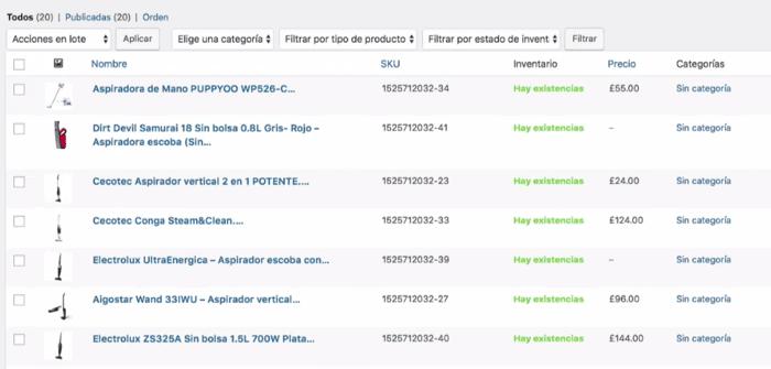 todos productos importados dashboard