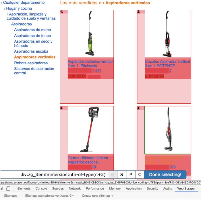 web scraper selec productos
