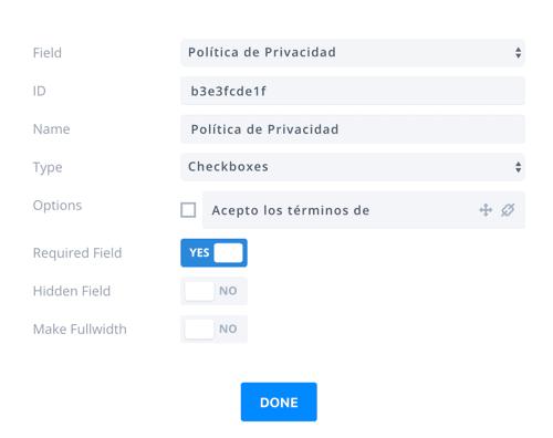 añadir enlace privacidad bloom