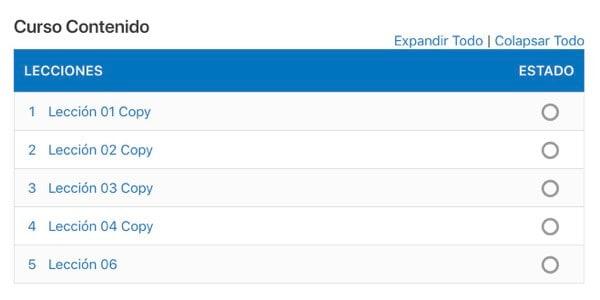 tabla contenidos learndash numero serie
