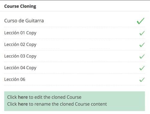 Curso y lecciones clonadas