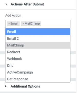elementor service mailchimp