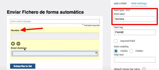 campos formulario mailchimp