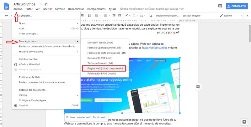 descargar html google docs