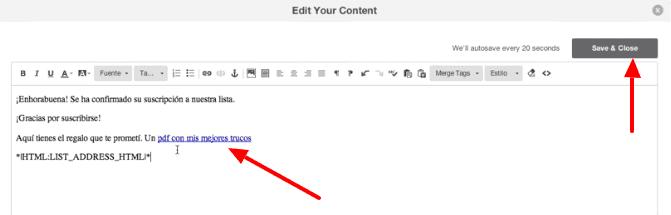editor enlace fichero mailchimp