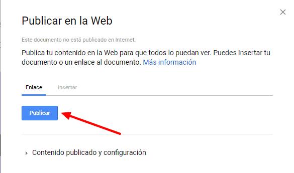 google docs publicar web