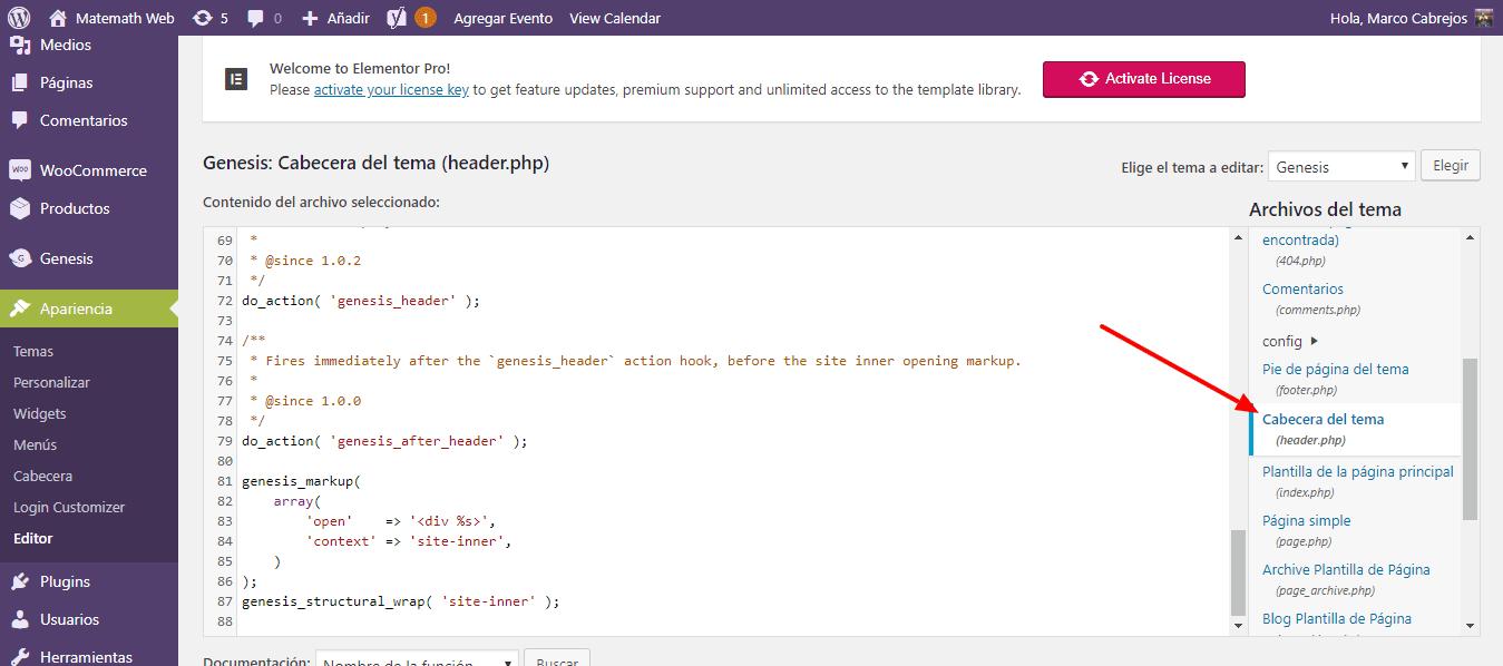 add cabecera php