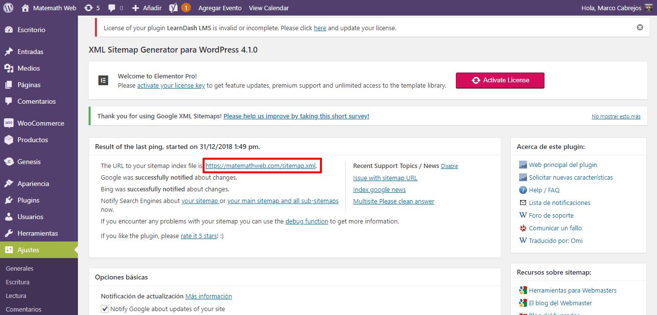 ajustes bing sitemap url