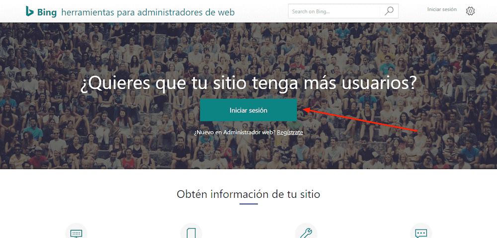 bing herramienta administradores web