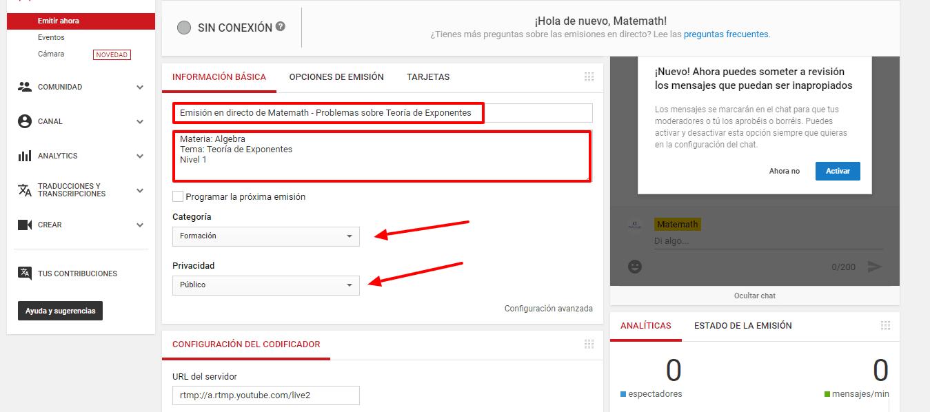 youtube configuracion emitir obs
