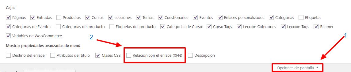activar relacion enlace xfn