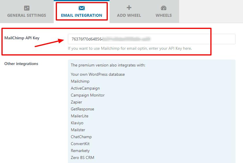 email integracion optin wheel