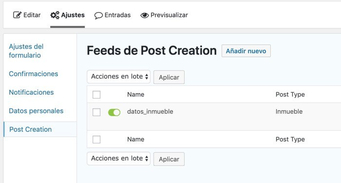 Feed Post Creation Gravity Forms