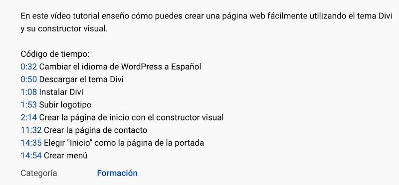 códigos tiempo videos youtube