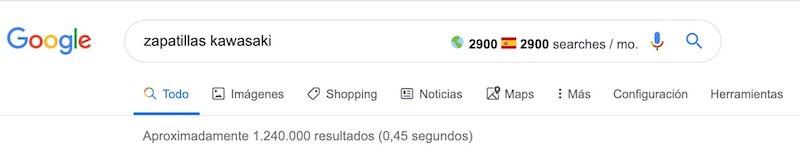 número de búsquedas keyword surfer