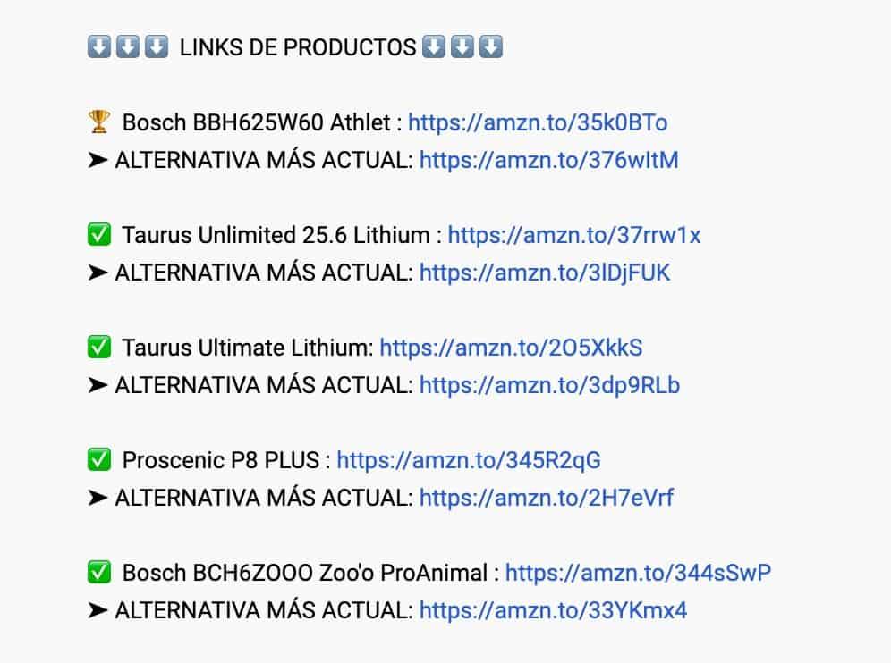 enlaces youtube aspiradoras